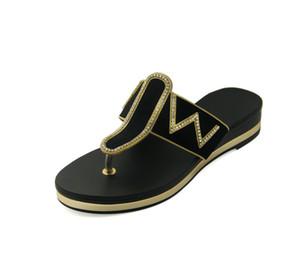 Vendita calda-XOBZJH Sandali Donna 2018 Ladies Summer Fashion Party Nero Strass Piattaforma Infradito Peep-Toe Ladies Shoes Plus Size
