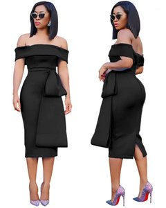 Backless Split Womens Designer Dresses Females Clothing Sexy Women Casual Dresses Fashion Panelled Slim Slash Neck