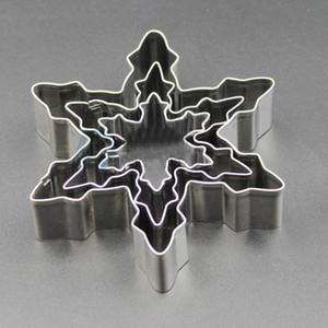 Alta qualidade do floco de neve Forma 3 pcs / Ferramentas Form Lot Cookie Cutter Stainless Steel Neve Biscoito DIY Fondant Mold Bolo de chocolate Decoração