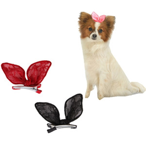 Clips para las orejas de conejo de pelo 20PCS cordón de la manera Bowknot horquillas de los accesorios lindo gatito niños Barrettes muchachas de los cabritos Headwear del animal doméstico con mascota