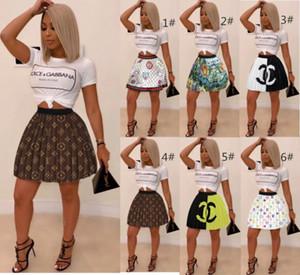 Faltenrock Miniröcke Mode Buchstabedruckes Kleid Park Strandkleid kurzer Rock und weisen Frauen-Markenkleid klw2724