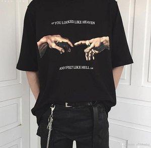 Você olhou Like Heaven e eu senti como Inferno Michaelangelo o Juízo Mãos Printing T Shirt estilo Mulheres Verão Grunge Harajuku
