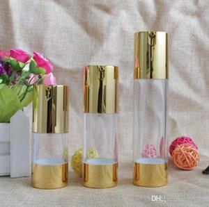 New Gold Cosmetic Airless Lotion Bottle Essência soro garrafas de bomba Embalagem 15ml 30ml 50ml Maquiagem vazio Containers 100pcs SN1887
