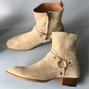 Top quality handmade botas de camurça jodhpur slp wyatt denim homens martin botas de couro genuíno fivela cinta sapatos de couro