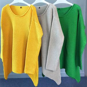 여성 스웨터 풀오버 니트웨어 새로운 긴 소매 고체 오 목 캐주얼 불규칙한 knittings 긴 스웨터 여성 팜므 위에 니트 느슨한