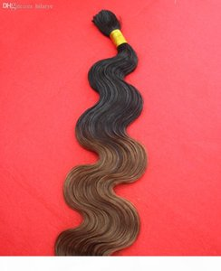 Wholesale-New T1b 8 Ombre Braiding Hair Wavy 100g Black and Brown Two Tone Braiding Hair 7A Brazilian Body Wave Human Braiding Hair Bulk