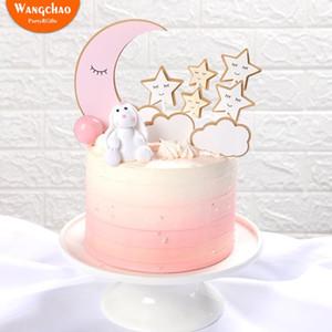 1 세트 달 별 구름 생일 파티 케이크 장식 반짝 반짝 작은 별 테마 생일 케이크 토퍼 파티 용품