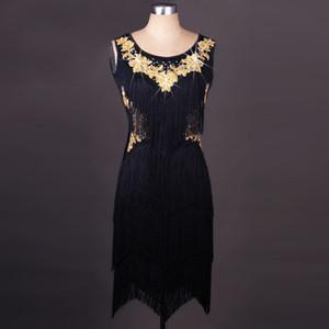 Новый латинский танец костюм Женский взрослых блесток черный Fringe кисточкой платье девочки Детский Latin Танцы Wear Tango / Samba Outfit 2998
