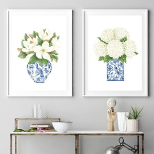 Белый Гортензия Gardenia синий синий и белый фарфор Бутылка Отпечатки Wall Art Flower Poster Живопись Холст Pictures Home Decor