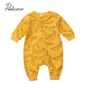 2019 Дети весна осень Одежда для новорожденных Infant Baby Boy девушки хлопка малышей Ползунки с длинным рукавом комбинезона Banana Одежда Outfit