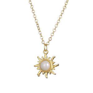 Sonnenschein Halskette Sun Beam-Ketten Perlenschmuck für Frauen Lady Geburtstag Zubehör Geschenk Claviclekette