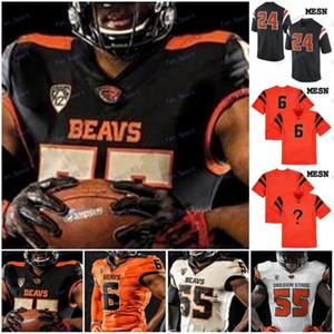 Personnalisé Oregon State Beavers Tout Nom Numéro Noir Blanc Orange Cousu # 8 Trevon Bradford 81 Noah Togiai 2020 NCAA Football Jersey
