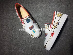 Studded shoes 019 Luxe Rouge Bas Hommes Femmes Spikes Casual Chaussures Rivets strass Party Dress Chaussures de marche Chaussures de sport Chaussures D