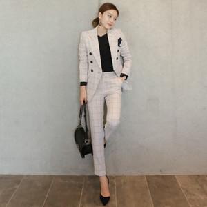 Suits 2017 Autumn Plaid Two Piece Revestimento E Mulheres Bege lapela Calças 2 Piece Set Mulheres do escritório Estilo