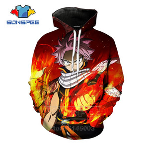 SONSPEE Fairy Tail Hoodies Hommes Femmes Natsu Sweat 3D Print Hip Anime Mode manches longues Hop rue O Neck Top Pull C094