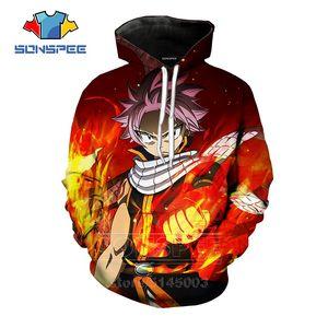 SONSPEE Fairy Tail Kapüşonlular Erkekler Kadınlar Natsu Kazak 3D Baskı Anime Uzun Kollu Moda Hip Hop Sokak O Boyun En Kazak C094