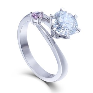 Transgems Moissanites Лаборатория Grown Diamond Обручальное Кольцо 1 Ct Df Цвет 14 К Белое Золото Обручальные Кольца Ювелирные Изделия Для Женщин