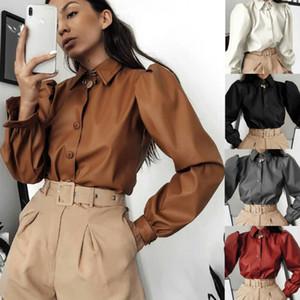 Женская блузка Повседневная Искусственная кожа лацкан слоеного с длинным рукавом кнопка рубашка блузка топы / BY