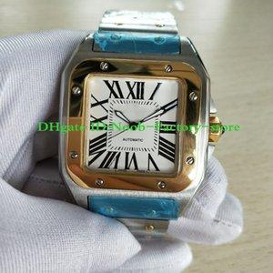 Новая фабрика Высочайшее качество Мужчины100 XL Двухтона Браслет из нержавеющей стали Автоматическое движение Наручные часы Мужские спортивные часы
