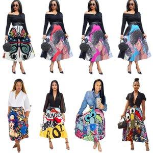 Женщины Лето Юбка длиной до щиколотки Упругие Полосатый Юбки Мультики Graffiti Цельный юбка Ночной клуб Wear Hot Style плиссированные юбки