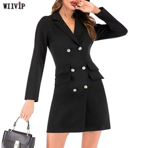 2020 New Autumn Winter Blazer Women Jacket Women's Double Breasted Long Office Lady Elegant Solid Blazer Dress Spring Coat 9592