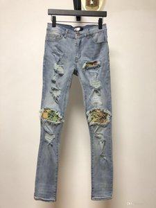 FALECTION 19FW USA FASHION CALIFORNIA AMIMIKE JEANS DENIM PANTS WITH COLOR BANDANNA PATCH