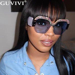 Glitter Square Sunglasses Women 2020 Oversized Diamond Sunglasses Rhinestone Eyeglasses Gradient Handmade Sunglasses Men Glitter Square lQoG