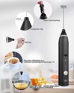 3-Speed Con Latte regolabile elettrico ricaricabile ugello palmare in acciaio inox Frusta Blender per il latte del tè, ecc Accessori cucina