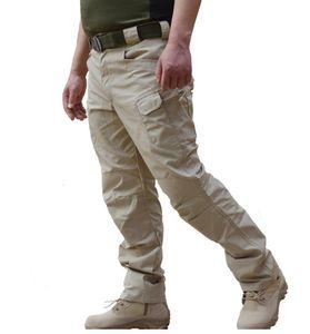 Primavera Pantalones tácticos masculinos Ejército Camo Pantalones Muchos bolsillo con cremallera pantalones de carga militar del camuflaje del estilo de los hombres de Negro