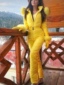 Winter Outdoor Bodysuit Hoodie Ski Suit Coat Women Fashion Warm Zipper Jacket Cotton Clothing Windproof
