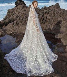 Elegante Uma Camada Estrelas Da Praia Véus De Noiva Appliqued 2.5 M Comprimento Longo Capela Boho Véu De Noiva Para As Mulheres Acessórios Para o Cabelo