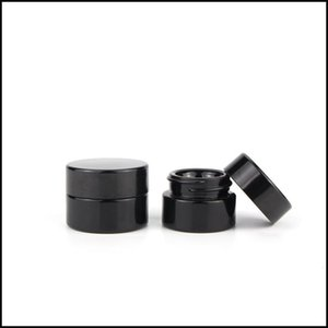 5ML Black Glass Jar With Classic Screw Lid Empty Dab Cosmetic Jars Concentrate Container Free Shipping