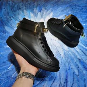 Da Di Uomo scarpe design Di Lusso de la chaîne plate-forme de réaction scarpe MQ Chaussures montantes de qualité cuir plate-forme Half Bottes de SIZ
