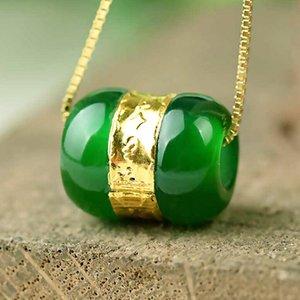 Китайский нефрит Inlay Good Luck бисер ожерелье DIY аксессуары Ювелирная мода аксессуары ручной работы Резные Женщина Amulet