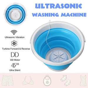 بالموجات فوق الصوتية البسيطة التوربينات غسالة قابلة للطي دلو USB الغسيل الملابس النظيف للمنزل المهاجع السفر السريع النظيفة