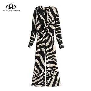 Bella Philosophy Vintage Zebra-Print-Schärpen-Overall für Frauen 2019 V-Ausschnitt zurück Reißverschlusstaschen Damen Strampler Casual Body
