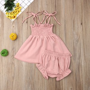 Boutique girl clothes Newborn Baby Kids Girl Tops Solid Dress+Shorts Pants Outfits Clothes Summer Sunsuit