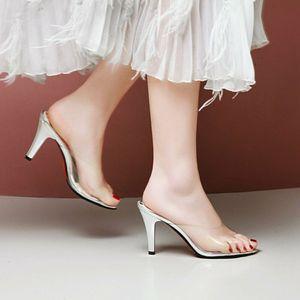 Night Club Slipper Women's Sandals High Heels Transparent Shoes Plus Size