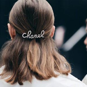 Clip mujeres Rhinestone de la perla de Bling Bling de pelo Carta Carta Barrettes Accesorios para el cabello de moda para el partido del regalo de la horquilla