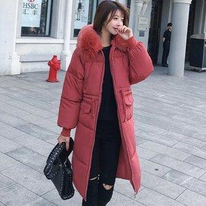 TYJTJY manera de las mujeres de Invierno 2019 abrigos de las nuevas mujeres de parque abajo flojo fino Medio larga y gruesa piel gruesa ropa de algodón abrigo de cuello