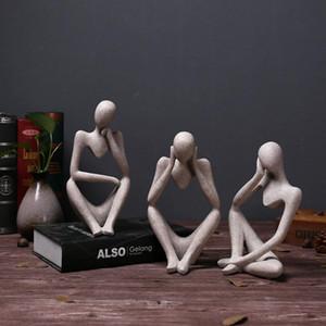 Neue Harz-europäische Art Abstrakt Thinker Statue Skulptur Figurine Office Home Decor T200619