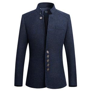 Левый ПЗУ 2018 весна новый стиль чистый цвет мода мужчины костюмы пальто / человек досуг стенд воротник Slim fit с длинными рукавами пиджаки M-5XL