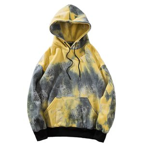Hip Hop Hoodie Sweatshirt Mens Harajuku Skull Pullover Hoodies Streetwear Autumn 2020 Tie Dye Hooded Sweatshirts Fleece Cotton