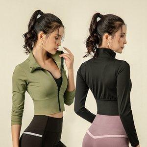 4 цвета Короткие Стиль Спорт Йога куртка Женщины Упругие Tight с длинными рукавами на молнии Пальто быстросохнущие Идущие Tops Crop Jacket Sexy