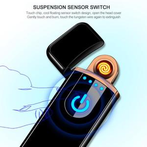 2019 New USB de carregamento Interruptor de sensor de toque de dupla face isqueiro à prova de vento sem chama charuto eletrônico cigarro sem isqueiros a gás com caixa de presente