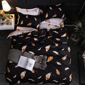 Black quilt cover and feather bedding set flat sheet, pillowcase&duvet cover High-quality No quilt