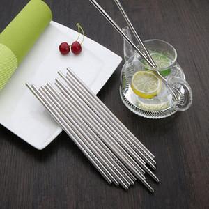 Diritta di acciaio inossidabile della cannuccia di metallo riutilizzabile paglia Bicchieri per tè e caffè Tools 215 * 12mm all'ingrosso CFYZ30Q di trasporto