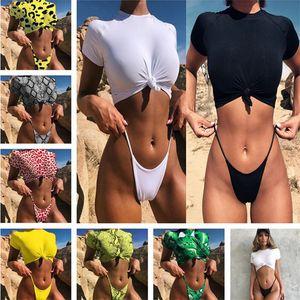 Frauen Retro Front-Tie Knot T-Shirt Crop Top + Shorts Zweiteiliges Set-Badeanzug-Bikini-Badeanzug-Dame Micro Thong Swimwear Sommer-Badeanzug