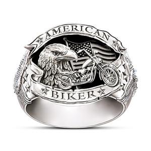 Weinlese-Silber-Punk-amerikanische Flagge Armee Eagle-Ring Männer Gothic Steampunk Motorradfahrer-Metallringe für Frauen Hip Hop Schmuck