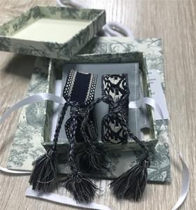 Топ бренд ткань браслет женщины D хлопок ювелирные изделия письмо подпись вышивка браслет тканые браслет кисточкой кружева up box